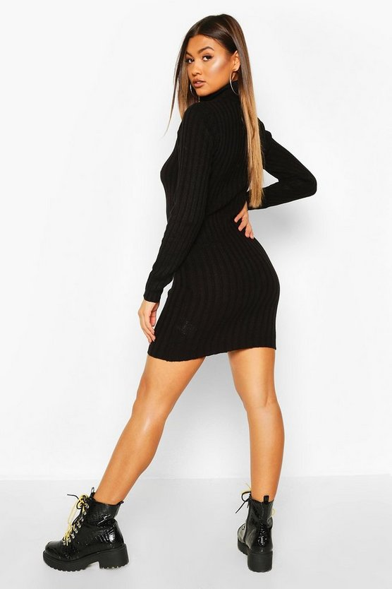 Longline Rib Knit Tunic Dress