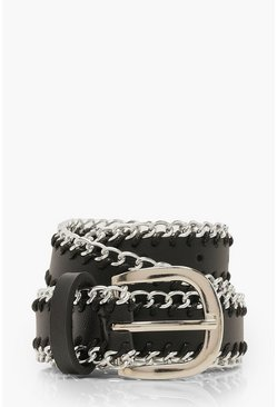Dam Black Chain Trim Buckle Belt