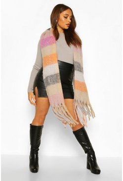 Dam Pink Brushed Oversized Check Blanket Scarf