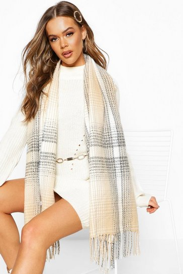 Womens Cream Knitted Check Fringe Scarf