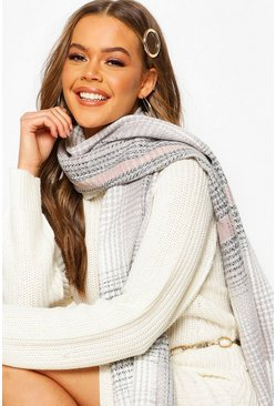 Womens Grey Knitted Check Fringe Scarf