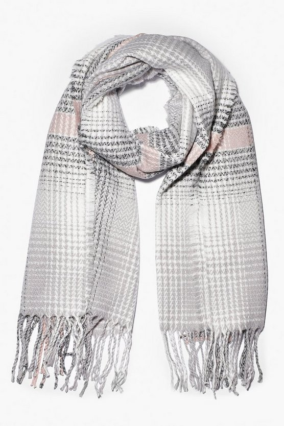 Knitted Check Fringe Scarf