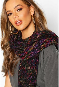 Womens Black Rainbow Chunky Knit Scarf