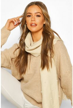 Cream Pearl Detail Fringe Scarf