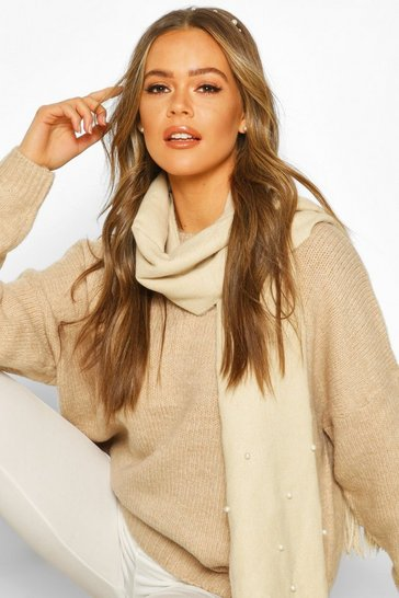 Womens Cream Pearl Detail Fringe Scarf