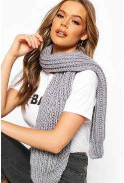 Grey Straight Edge Chunky Knit Scarf