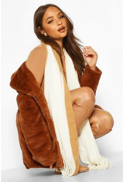 Dam Camel Knitted Colour Block Fringe Scarf