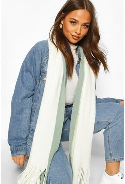 Knitted Colour Block Fringe Scarf, Sage