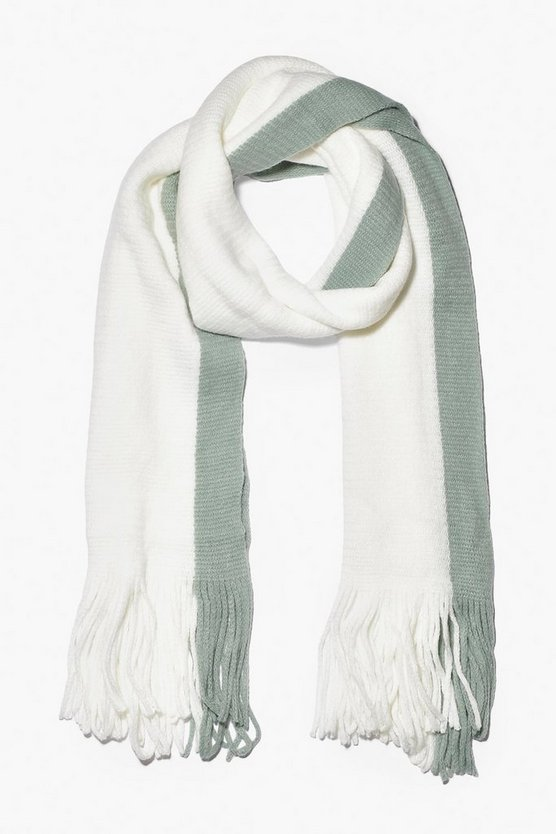 Knitted Colour Block Fringe Scarf