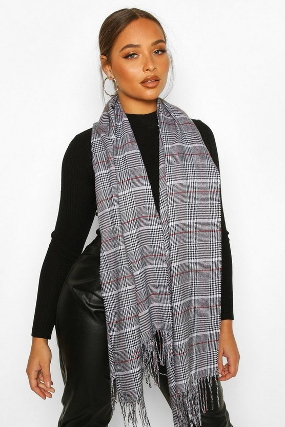 Prince Of Wales Check Fringe Scarf