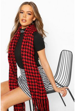 Smooth Knit Dogtooth Oversized Fringe Scarf, Red