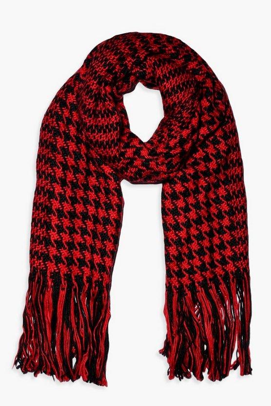 Smooth Knit Dogtooth Oversized Fringe Scarf