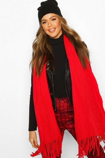 Red Oversized Rib Knitted Fringe Scarf