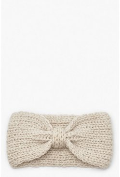 Womens Cream Knitted Bow Head Band