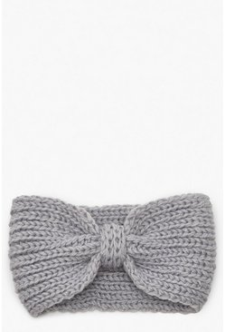 Dam Grey Knitted Bow Head Band