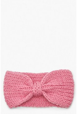 Pink Knitted Bow Head Band