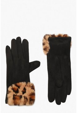 Womens Black Suedette & Leopard Faux Fur Trim Glove