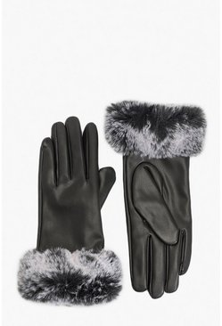 PU Faux Fur Trim Glove, Black, FEMMES