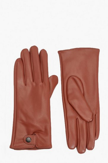 Tan PU Popper Gloves