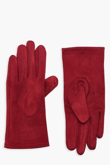 Burgundy Faux Suedette Thick Gloves