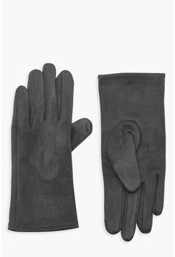 Womens Charcoal Faux Suedette Thick Gloves