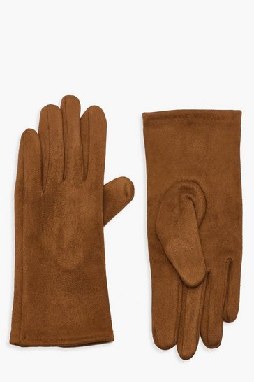 Womens Tan Faux Suedette Thick Gloves