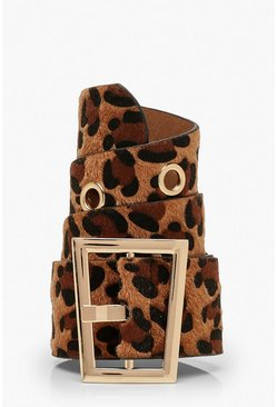 Leopard Print Waist Buckle Belt, Brown