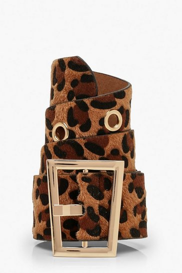 Womens Brown Leopard Print Waist Buckle Belt