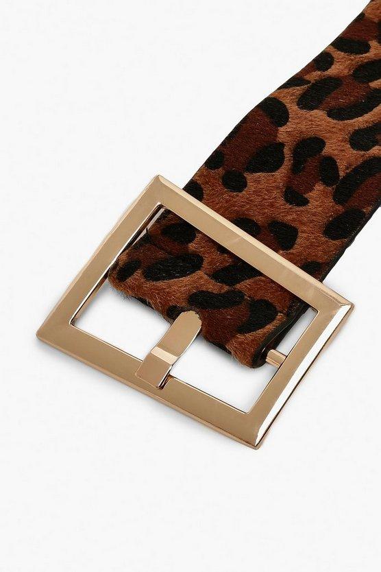 Leopard Print Waist Buckle Belt