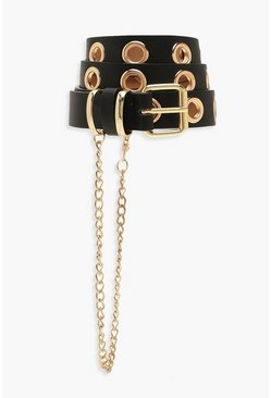 Womens Black Eyelet Belt & Chain Trim Detail Belt