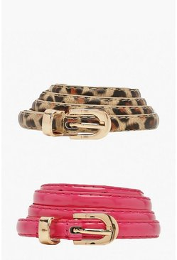 Pink Two Pack Leopard Patent Skinny Belt