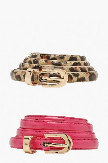 Womens Pink Two Pack Leopard Patent Skinny Belt