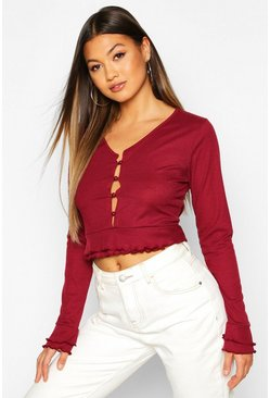 Wine Double Lettuce Hem Ribbed Button Up Top