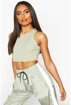 Womens Sage Rib Racer Crop Top