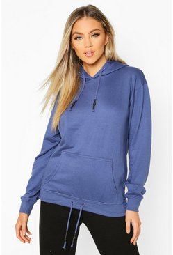 Oversized Pocket Rubberized Toggle Hoodie, Denim, Femme