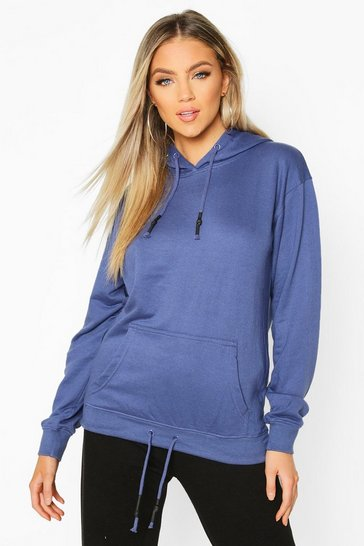 Womens Denim Oversized Pocket Rubberized Toggle Hoodie