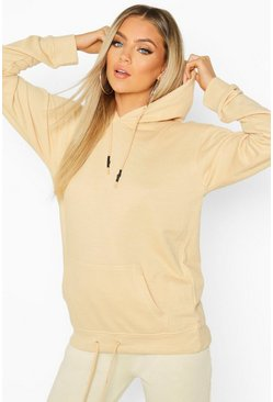 Womens Ecru Oversized Pocket Rubberized Toggle Hoodie