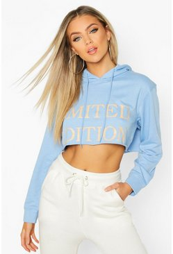 Slogan Front Cropped Hoodie, Sky, Donna