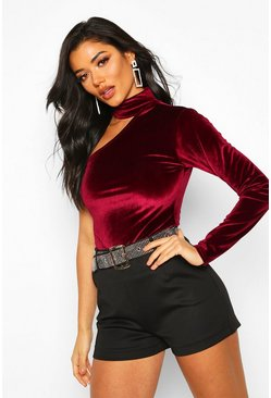 Womens Berry Velvet One Shoulder Top