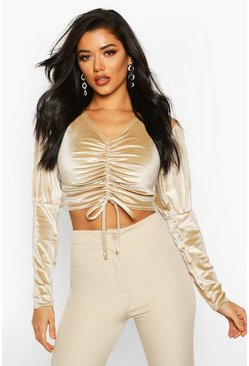 Velvet Ruched Puff Sleeve Crop Top, Champagne, MUJER