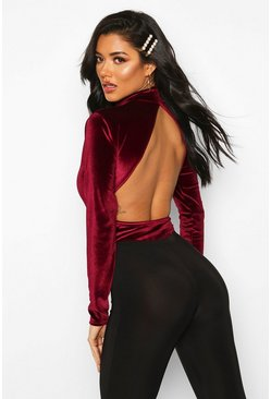 Velvet High Neck Open BacK Bodysuit, Berry