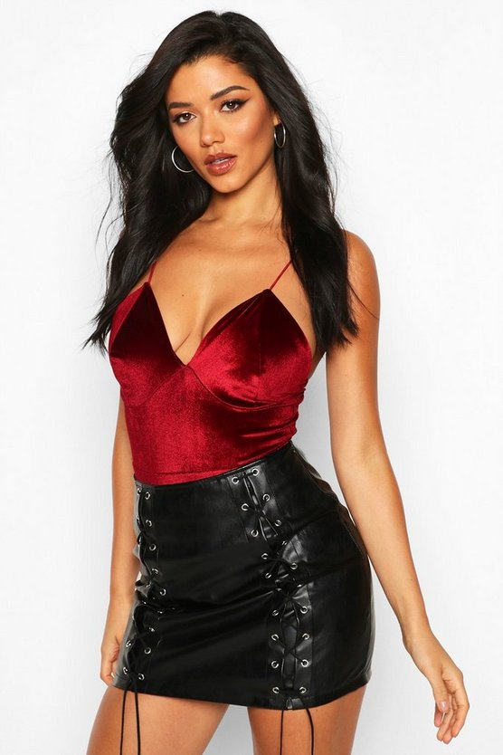 Berry Velvet Plunge Neck Bodysuit