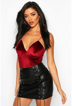 Womens Berry Velvet Plunge Neck Bodysuit