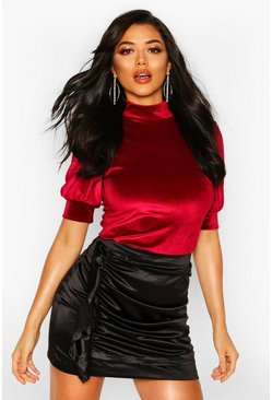 Velvet Puff Sleeve High Neck Top, Berry