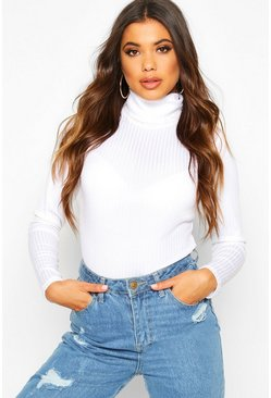 White Jumbo Rib Roll Neck Bodysuit