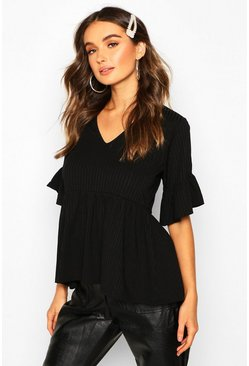 Dam Black Ribbed V Neck Frill Sleeve Smock Top