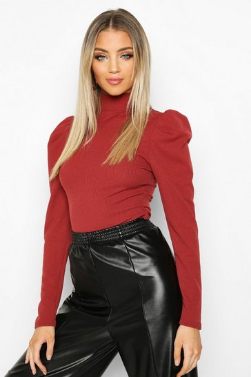 Womens Terracotta High Neck Puff Sleeve Ribbed Top