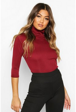 Womens Berry Ribbed Turtle Neck 3/4 Sleeve Top
