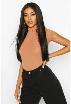Camel Ribbed Turtle Neck Cap Sleeve Top
