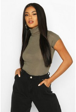 Ribbed Turtle Neck Cap Sleeve Top, Khaki, MUJER